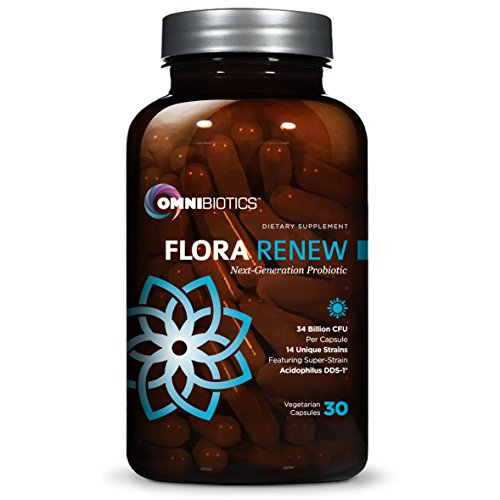 OmniBiotics Flora Renew Probiotics 7x Stronger with 34.7 Billion CFU, 14 Unique Strains Acidophilus DDS-1 per Capsule, #1 Best Probiotic Supplement Perfect for Adults & Kids Digestive Health