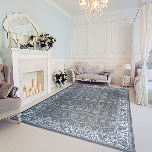 Gertmenian 78137 Traditional Rug Platinum High Density Persian Carpet, 8' x 10' Large, Abstract Gray Border 17th Century Persian Rug