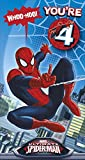 MARVEL - ' YOU'RE 4' SPIDER-MAN BIRTHDAY CARD FREE BADGE - 418940