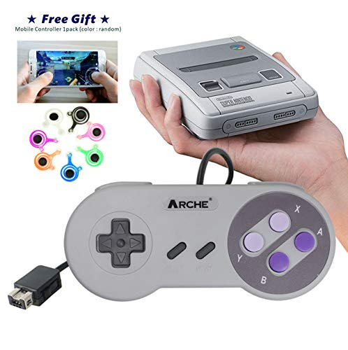 ARCHE Classic Controller <1 Pack> Compatible with Nintendo Super NES Classic, SNES Mini, SNES Classic Mini, NES Classic, Wii, Wii U Controllers/FREE Joystick for Mobile Phone Game. (Retro Controller Wii)