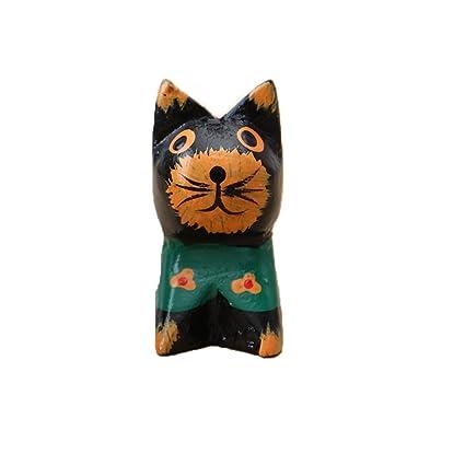 Toonol adornos de madera tallados para gatos, decoración de ...