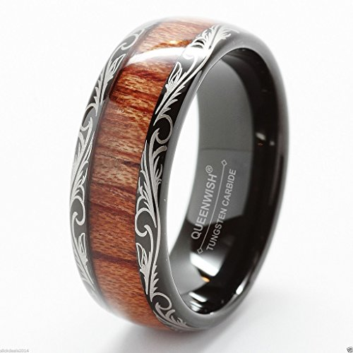 Queenwish 8mm Black KOA Wood Tungsten Carbide Wedding Band Engagement Ring with Jewelry Box 8335085
