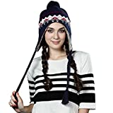 Siggi Women Cable Knit Peruvian Beanie Wool Winter Hat Cap with Earflap Pom