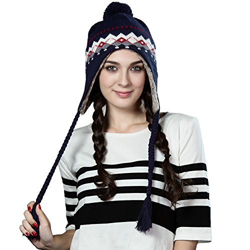 Siggi Women Thick Peruvian Beanie Wool Winter Ski Hat Earflap Cap with Pom Fur Lined - Earflap Wool Hat