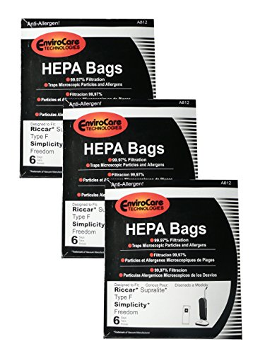 (18 Riccar HEPA Type F Vacuum Bags, Simplicity, Freedom, Supralite, Canister Vacuum Cleaners, RSLH-6, SF-6, RSL1, RSL1A, RSL1AC, RSL3C, RSL2, RSL3, RSL4, RSL5, RSL5C, SLPLUS, RFH-6, F3500)