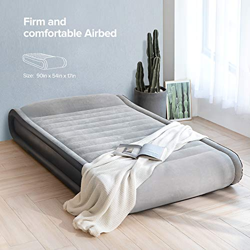 Sable Air Mattress Inflatable Elevated Built-in Pillow Bed Full Size XL Blow Up with Internal High Capacity Pump, Height 17''