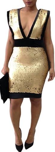 Kearia Womens Sequin Splice Deep V Neck Backless Bodycon Cocktail Party Mini Dress