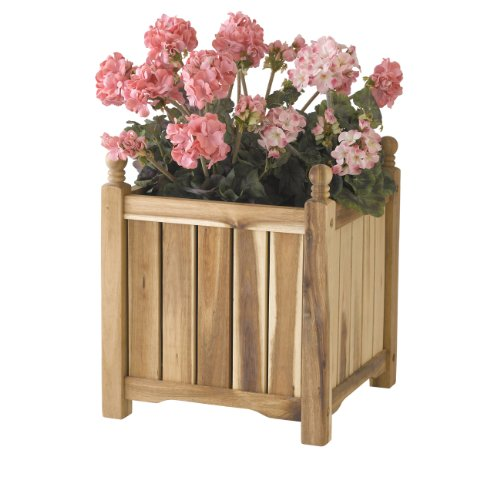 DMC Products Lexington 16-Inch Square Solid Wood Planter, (Dmc Products Natural Planter)