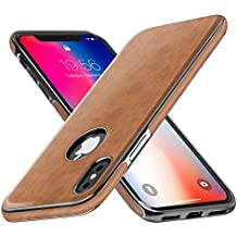 iPhone X Leather Case, iPhone X Case Miracase Luxury Leather Ultra Slim & Thin Soft TPU Hybrid Bumper Wireless Charging Compatible Shockproof Drop Protective Cover Case for Apple iPhone X 10-Brown