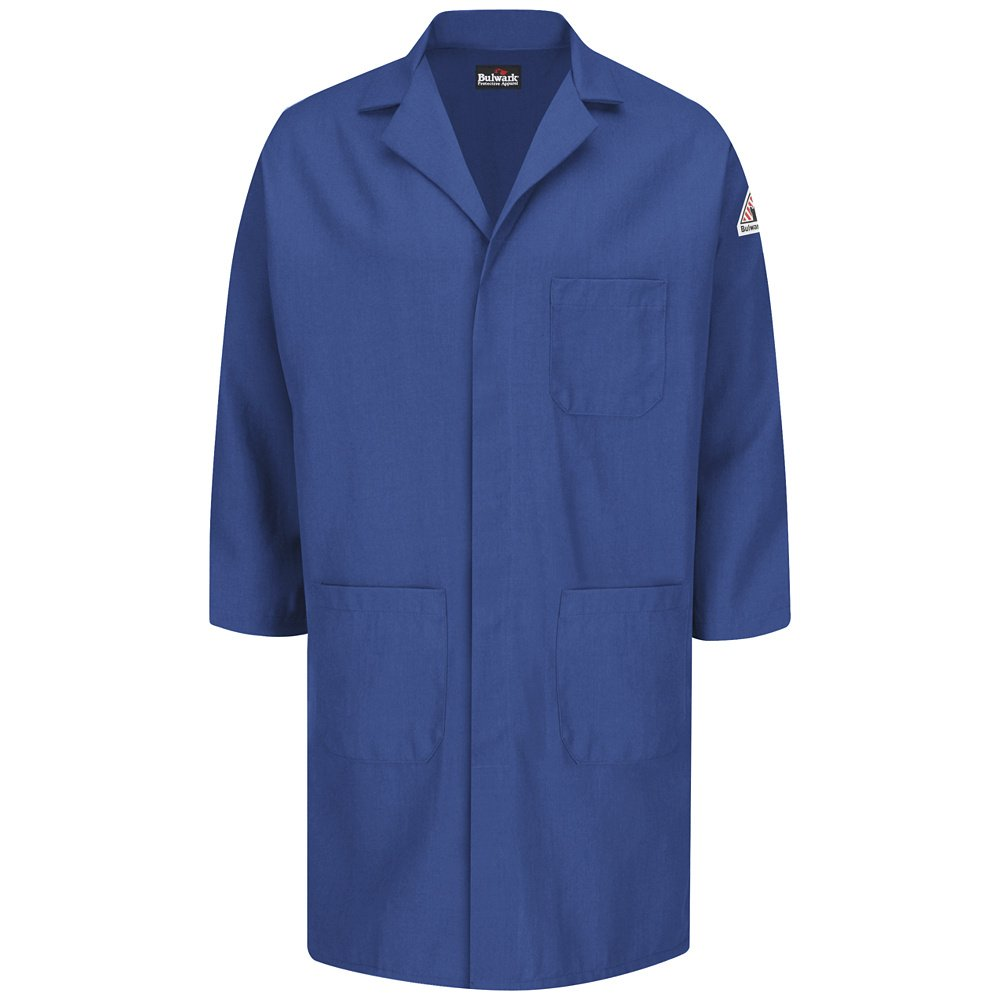 Bulwark FR Concealed Snap Front Lab Coat - Nomex® IIIA - 6 oz Royal Blue