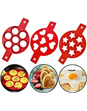 Pancake Mold Maker, 3 Packs 21 Cavity Reusable Silicone Nonstick Ring Fried Egg Mold, Muffin Cake Mould, Hearts & Stars & Round Shape Cooking Tool Quickly Make a Cake for You to Save Valuable Time