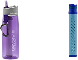LifeStraw Go Water Bottle 2-Stage with Integrated 1 000 Liter LifeStraw Filter and Activated Carbon Purple w/ LifeStraw Go Water Bottle 2-Stage Replacement Filter, Blue