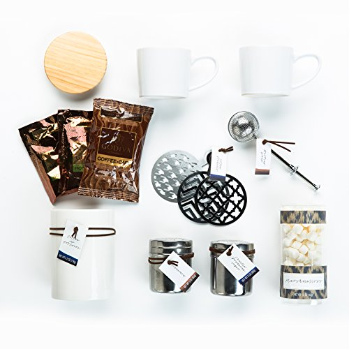 The Ultimate Godiva Coffee Gift Box by Thoughtfully. Barrista Set Includes Gourmet Tools (Dusting Wand), Godiva Chocolate Truffle Coffee & Dark Cocoa Mix, and Coffee Toppers. The Perfect Mocha Kit
