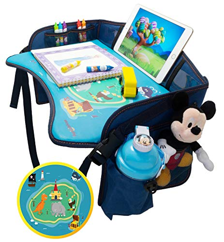 Kids Travel Tray by Heygoody –Portable Toddler Lap Trays for Traveling - Waterproof and Sturdy Surface - Large mesh Organizer - Easy to Clean - Prevents Messes - Convenient for Snacking on The Road