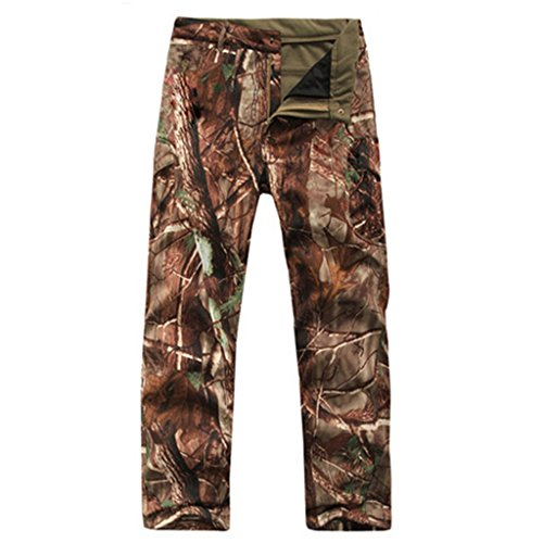 Eglemall Men's Military Tactical Hunting Pants Fleece Softshell Trousers Tree Camo XXL