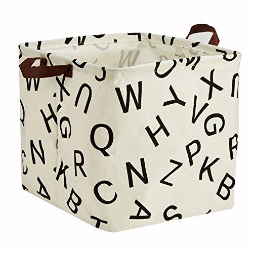 English Basket - Storage Basket, Large Square Basket Storage - Waterproof and Folding Canvas Fabric Kids Laundry Basket (English Word)