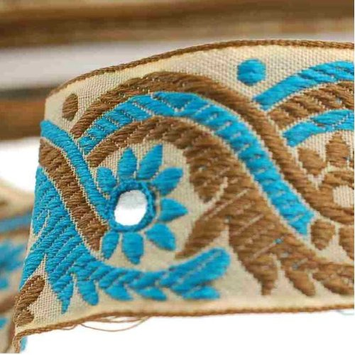 Sari Blue Turquoise (Neotrims Decorative Indian Salwar Kemeez Sari Mirror Trimming Ribbon By The Yard, 1 or 4 meters or 16 meters Sari Length Border. Turquoise Blue & Olive on a Beige Base Ribbon; with Mirror Work Embroidery Sequins, Beautiful!)