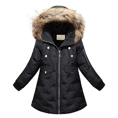 YFCH Winterjacke für Jungen Daunenmantel Kinder Mädchen Steppjacke mit Fellkapuze Verdickte Daunenjacke Outerwear Lang Jacke