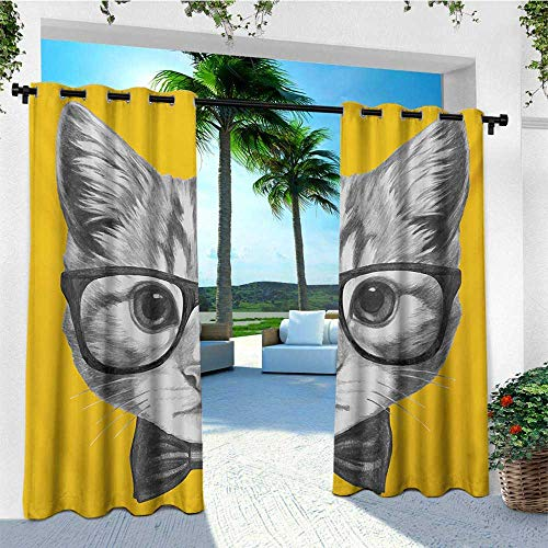 Wallace Glass Print - leinuoyi Animal, Outdoor Curtain Grommet, Sketchy Hand Drawn Design Baby Hipster Cat Cute Kitten with Glasses Image Print, Outdoor Privacy Porch Curtains W108 x L108 Inch Grey Mustard
