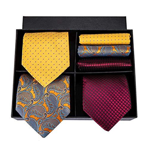 (Hi-Tie 3 Pieces 63'' Extra Long Tie Silk Mens Tie Large Pocket Square Plus Size Tie)