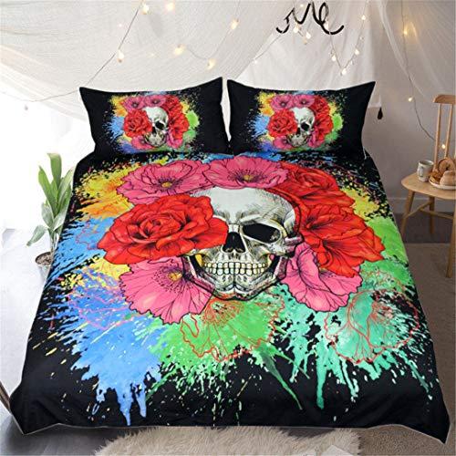 Floral Skull Duvet Cover Set 3Pcs Splash Watercolor Bedclothes Flowers Bedding Set Gothic Home Textiles Skull Bedding Set USA Full -