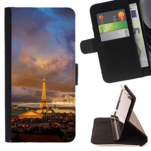 God Garden - FOR Apple Iphone 5C - Romantic Night In Paris - Glitter Teal Purple Sparkling Watercolor Personalized Design Custom Style PU Leather Case Wallet Fli