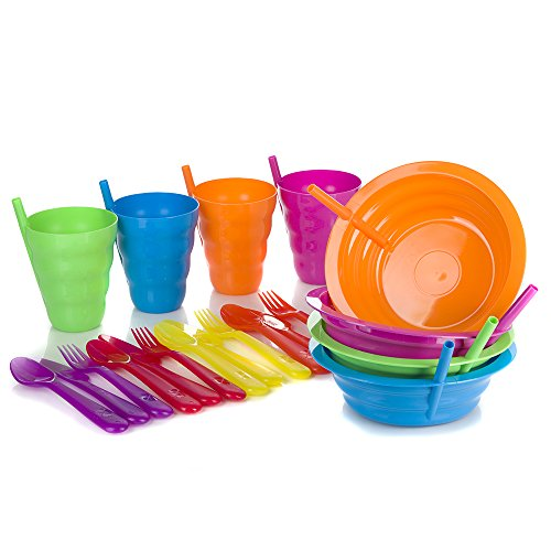 Arrow Sip-A-Bowl + Arrow Sip-A-Cup With Built In Straw + Kids Cutlery Set of a Fork Knife and Spoon | 4 Place settings | BPA Free and Dishwasher Safe | 20 Piece Bundle by Arrow (Image #1)