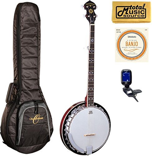 Oscar Schmidt 5-String Banjo With Remo Head, Gig Bag Bundle by total Music Source