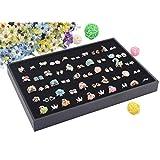 Wuligirl 100 Slot Ring Velvet Jewelry Tray Stackable Showcase Display Organizer, Black (100 Ring Jewelry Tray)