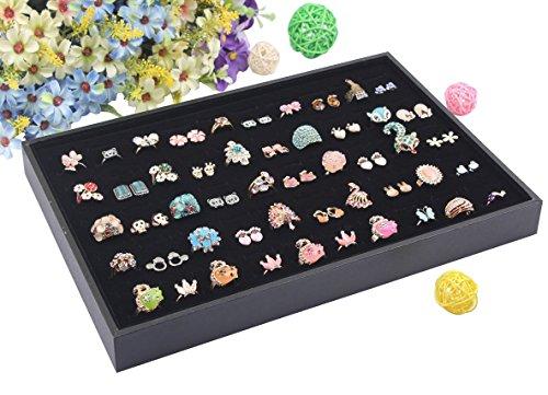 Wuligirl 100 Slot Ring Velvet Jewelry Tray Stackable Showcase Display Organizer, Black (100 Ring Jewelry - Display Organizer