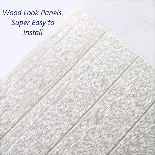 "Bookishbunny 3D Wood Foam Wallpaper Ceiling Self Adhesive Home Wall Tiles Large Panel, White, 27"" x 27"" (White, 5pk - 25 sqft)"