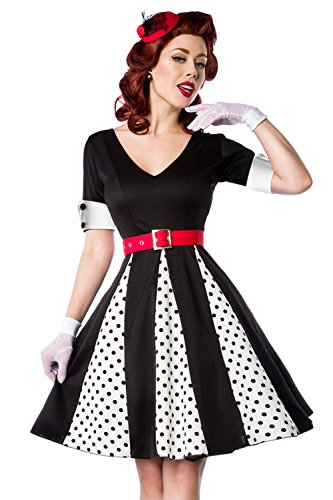 Kleid V Kleid amp; kurzen mit Ausschnitt Ärmeln Weiß Manschetten Retro Godet Schwarz mit SEqcdwTEBW