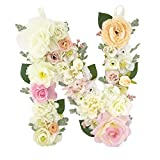 DARONGFENG RuralStyle Floral Letters, Handmade Wood Artificial Flower Letter Monogram for Wall Door Desk Top Decoration, Nursery/Baby Shower/Children Room/Wedding /Birthday Party Decor (N)