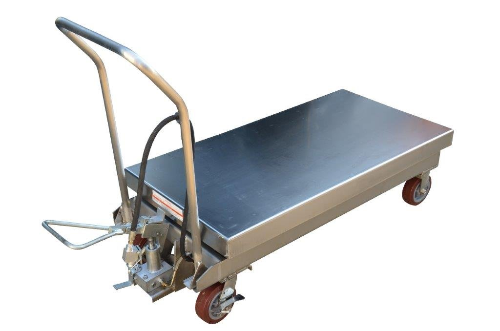 Air Scissor Lift - BAIR-D Series; Construction: Partially Stainless Steel; Platform Size (W x L): 24'' x 47-1/4''; Capacity (LBS): 2,000; Service Range: 15'' to 39-1/2''; Caster Size: 6'' x 2''