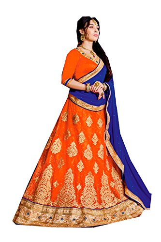 PCC Indian Women Designer Wedding orange Lehenga Choli K-4640-40753