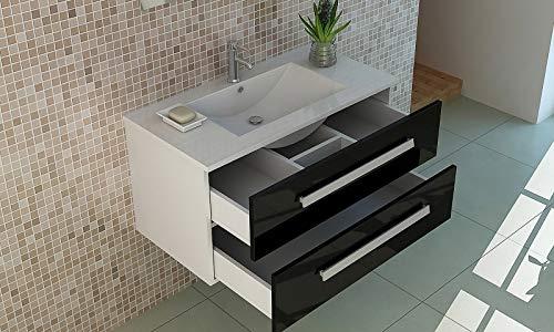 Badset Rapperswil in black Waschbecken Waschtisch Front hochglanz zwei Schubladen Soft Close