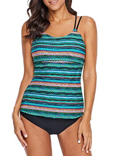 - Blibea Womens Square Neck Adjustable Straps Tribal Printed Surfing Tankini Swim Tops Swimwear Green X-Large