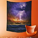 Nalahome Psychedelic Tapestry Epic Lightning and Stothe Sea Wave Horiz Bad Weather Atmosphere Home Tapestries Wall Hanging Tapestry for Bedroom Living Room Dorm 24L x 36W Inches