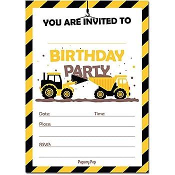 Amazon green tractor birthday party invitations for boys farm construction trucks birthday invitations with envelopes 15 count kids birthday party invitations for boys tractor filmwisefo