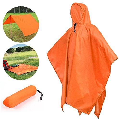 Rain Poncho Waterproof Raincoat with Hoods Multifunctional Tarp for Outdoor Camping Cycling for DIY Outdoor Activities (Orange)