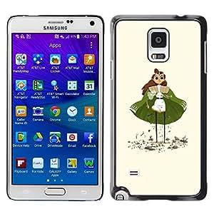Shell-Star Arte & diseño plástico duro Fundas Cover Cubre Hard Case Cover para Samsung Galaxy Note 4 IV / SM-N910F / SM-N910K / SM-N910C / SM-N910W8 / SM-N910U / SM-N910G ( Green Cape Princess Figurine Art Girl Eyes )
