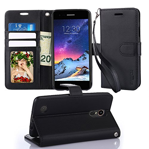 TabPow LG Aristo Wallet Case - Folio Series, Flip PU Leather with Kickstand, ID & Credit Card Slot Holder For LG Phoenix 3 / LG K8 2017 / LG Fortune / LG Risio 2 - Black