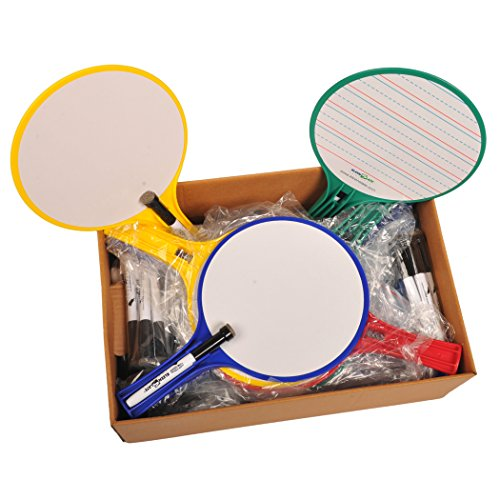 Kwik Chek Hand Held Dry Erase Paddles - Pack of 24 - Assorted Colors by None