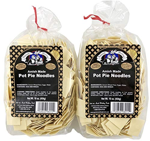 Amish Wedding Pot Pie Noodles 16 Ounce Bags (Pack of 2)