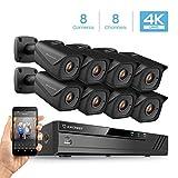 Amcrest 8CH 4K Security Camera System w/H.265 4K (8MP) NVR, (8) x 4K (8-Megapixel) IP67 Weatherproof Metal Bullet POE IP Cameras (3840×2160), 2.8mm Wide Angle Lens, 98ft Nightvision (Black)