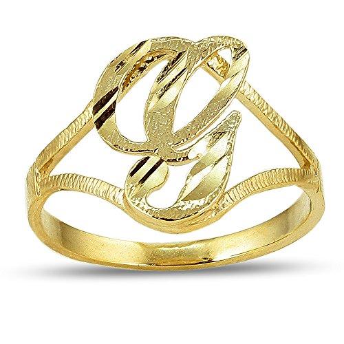 - LoveBling 10K Yellow Gold Ladies Cursive Alphabet Initial Ring (G, 7.5)