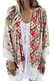 Relipop Womens Sheer Chiffon Blouse Loose Tops Kimono Floral Print Cardigan,Beige,Small