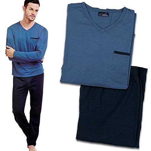 Pyjama - Herren Schlafanzug - Schlafshirt mit Hose - Pyjama Herren mit Modellauswahl (L, blau/dunkelblau)