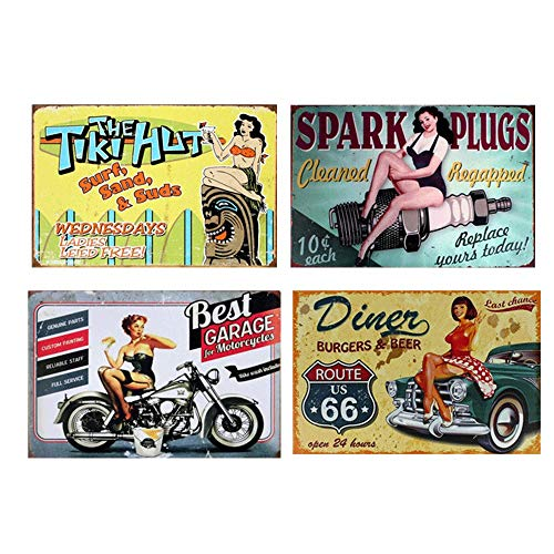 Easy Painter Vintage Metal Signs Decorationds, Motorcycle Series Metal Tin Signs, Classic Route US 66 Tin Plate, for Garage Parking Lot Bar Poster - 12x8inchx4pcs