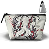 Portable Travel Storage Bags Octopus Tattoo Art Design All Printed Clutch Wallets Big Pouch Purse Zipper Holder For Kits Medicine And Makeup Bag